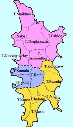 Схема районов Пхукета