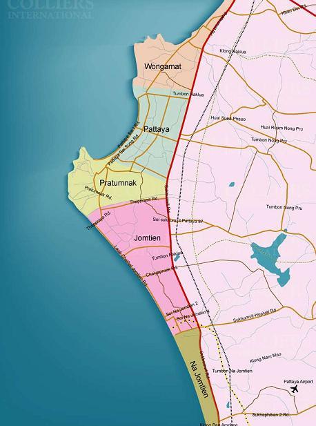 Карта районов деления недвижимости в Паттайе