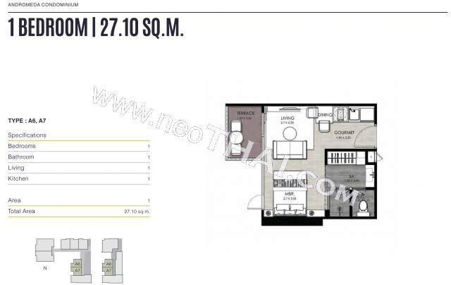 Паттайя, Квартира - 28 м²; Цена продажи - 2.867.000 бат; Andromeda Condo