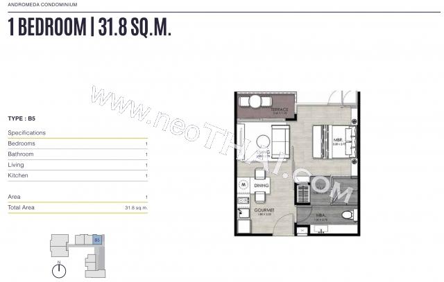 Паттайя, Квартира - 33 м²; Цена продажи - 3.990.000 бат; Andromeda Condo