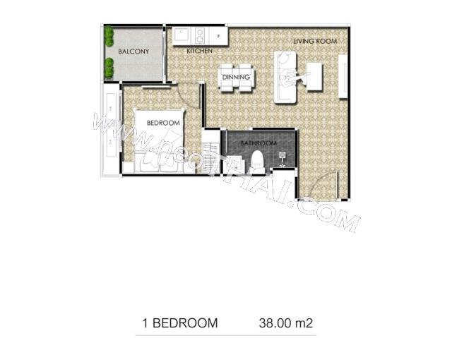 Паттайя, Квартира - 38 м²; Цена продажи - 5.320.000 бат; Arcadia Center Suites