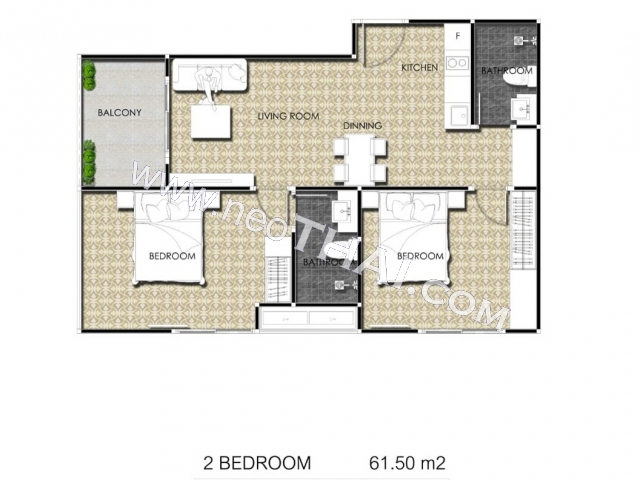 Паттайя, Квартира - 61 м²; Цена продажи - 8.610.000 бат; Arcadia Center Suites