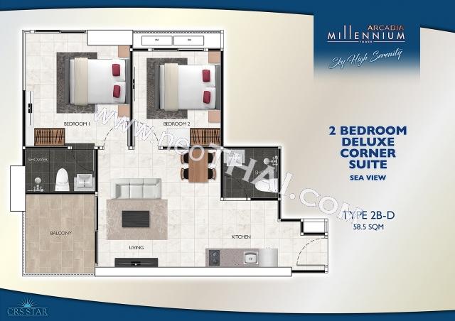 Паттайя, Квартира - 56 м²; Цена продажи - 5.600.000 бат; Arcadia Millennium Tower