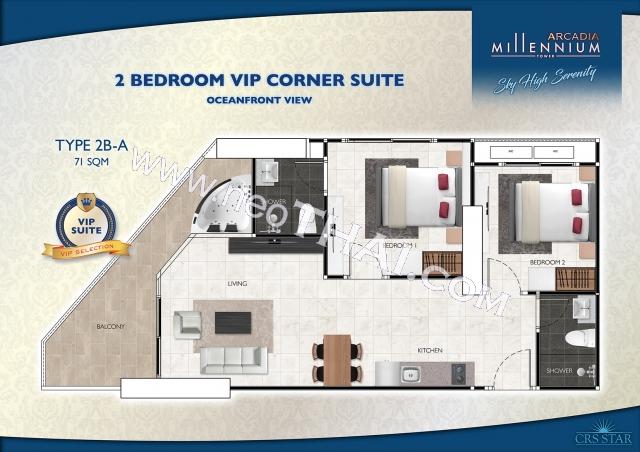 Паттайя, Квартира - 71 м²; Цена продажи - 7.100.000 бат; Arcadia Millennium Tower