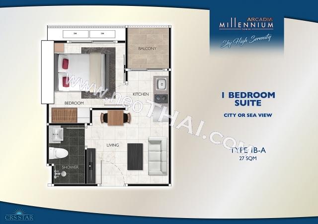 Паттайя, Квартира - 27 м²; Цена продажи - 2.700.000 бат; Arcadia Millennium Tower