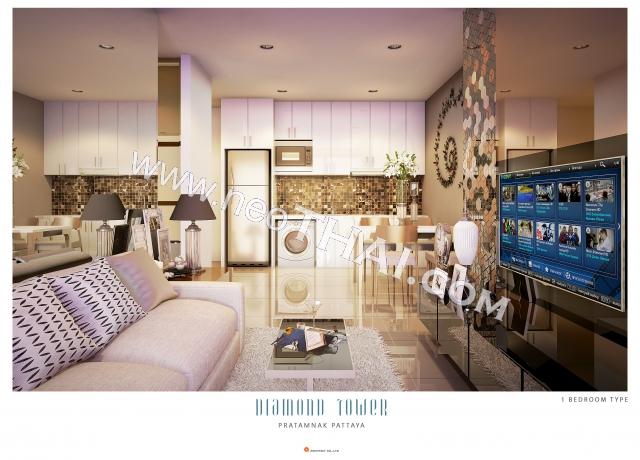 Паттайя, Квартира - 46 м²; Цена продажи - 3.841.000 бат; Diamond Tower