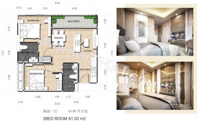 Паттайя, Квартира - 61 м²; Цена продажи - 4.270.000 бат; Dusit Grand Park 2