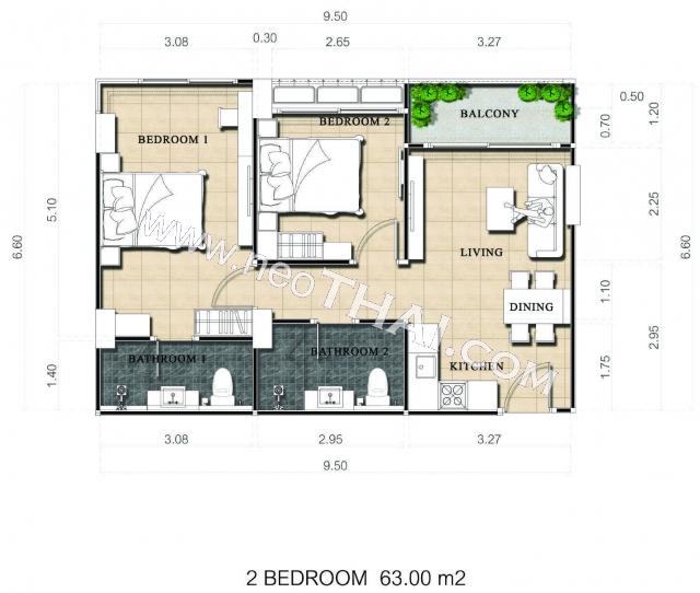Паттайя, Квартира - 63 м²; Цена продажи - 4.480.000 бат; Dusit Grand Park 2