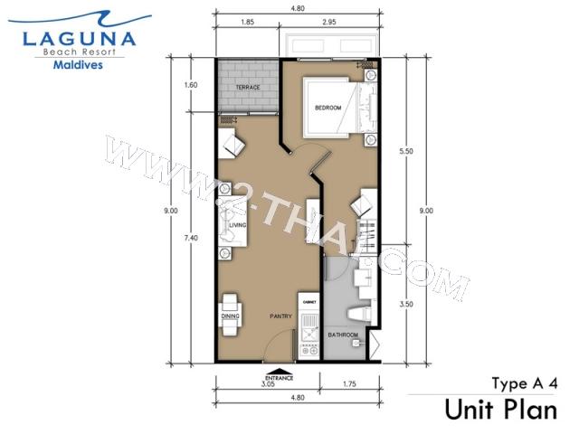 Паттайя, Квартира - 41.5 м²; Цена продажи - 2.285.000 бат; Laguna Beach Resort 3 The Maldives