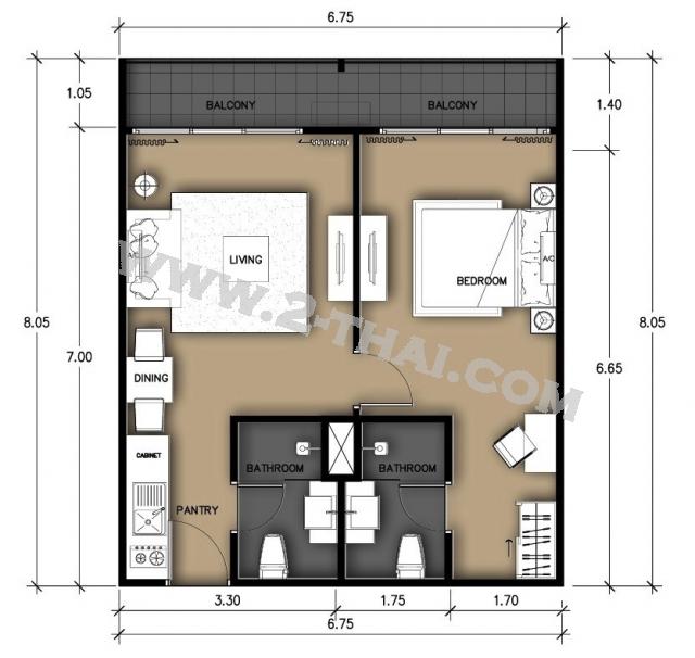 Паттайя, Квартира - 45 м²; Цена продажи - 1.599.000 бат; Laguna Beach Resort Jomtien 2