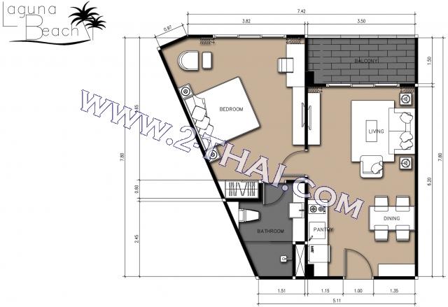 Паттайя, Квартира - 49 м²; Цена продажи - 1.999.000 бат; Laguna Beach Resort Jomtien 2