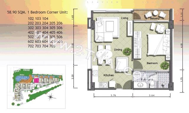 Паттайя, Квартира - 61 м²; Цена продажи - 8.229.000 бат; Paradise Ocean View
