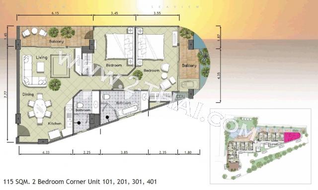 Паттайя, Квартира - 112 м²; Цена продажи - 17.000.000 бат; Paradise Ocean View