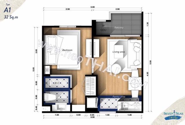 Паттайя, Квартира - 32 м²; Цена продажи - 2.800.000 бат; Seven Seas Cote d Azur