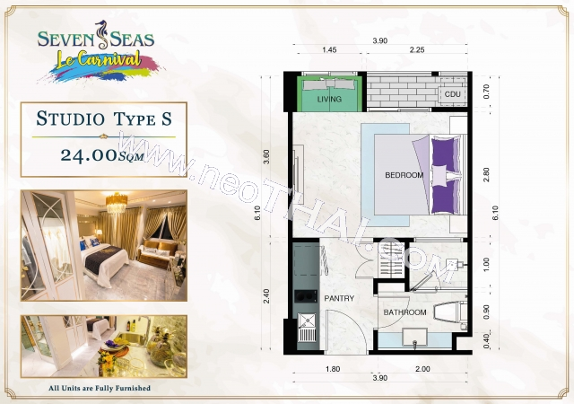 Паттайя, Квартира - 24 м²; Цена продажи - 1.990.000 бат; Seven Seas Le Carnival