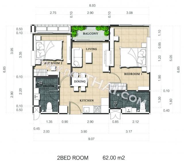 Паттайя, Квартира - 62 м²; Цена продажи - 5.360.000 бат; Dusit Grand Park 2